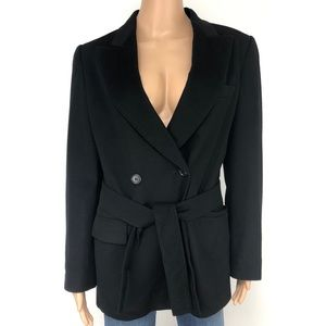 MaxMara 100% Wool Black Belted Jacket Blazer
